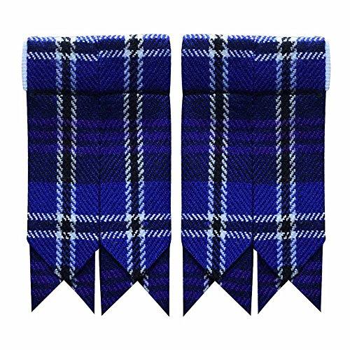 New Solid Plain Black, Royal Stewart Tartan Many More Kilt Flashes Multi Colors (Heritage of Scotland)
