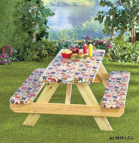 - 3 Piece Fitted Picnic Table & Bench Seat Cover Set SUMMERTIME COOKOUT Elastic Fit Patio Tablecloth
