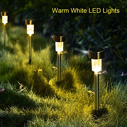KODOO-12Pack-Outdoor-Solar-Lights-LED-Solar-Powered-Pathway-Lights-Stainless-Steel-Landscape-Lighting-for-LawnPatioGardenWalkwayDriveway-Warm-White