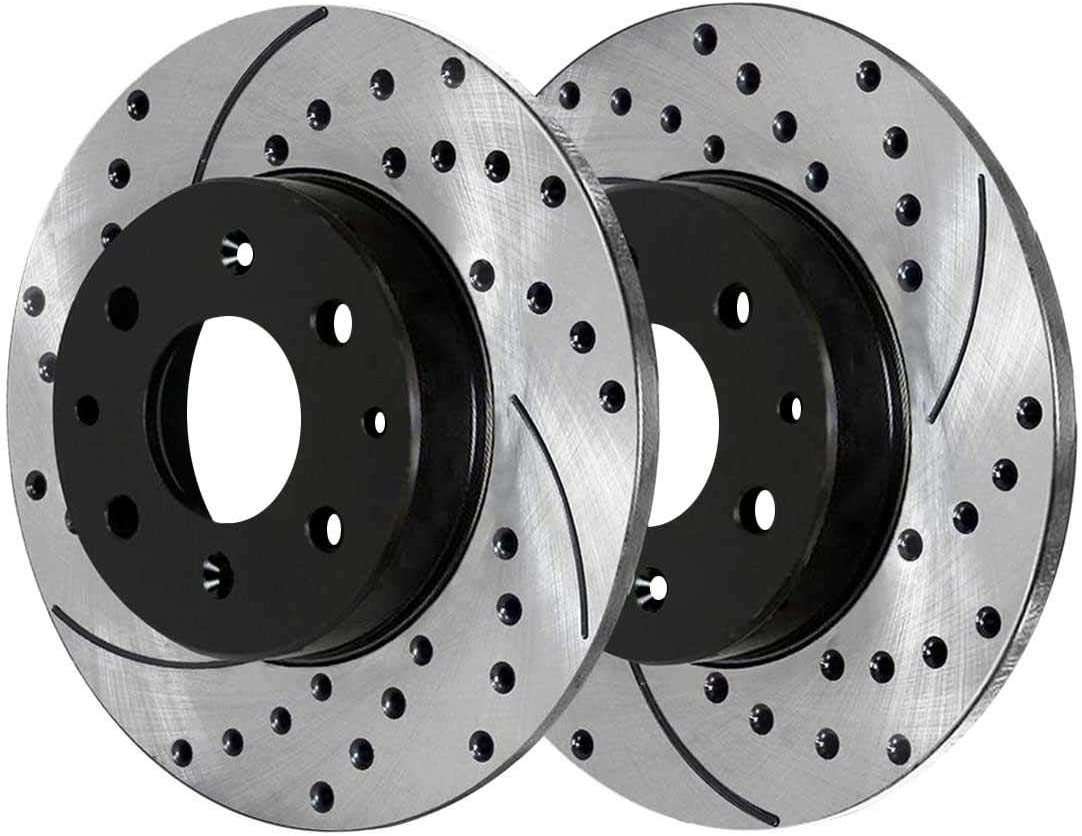 AutoShack PR881089LR Rear Drilled and Slotted Brake Rotor Pair 2 Pieces Fits Driver and Passenger Side