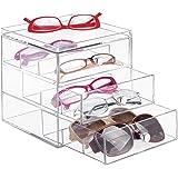 InterDesign Drawers Cassettiera porta occhiali, Espositore occhiali impilabile con 3 cassetti, Portaocchiali per occhiali da vista o da sole, Plastica trasparente