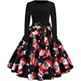 Paskyee Christmas Dresses for Women Xmas Santa Claus Costumes Print 50s Vintage Swing Casual Party Dress