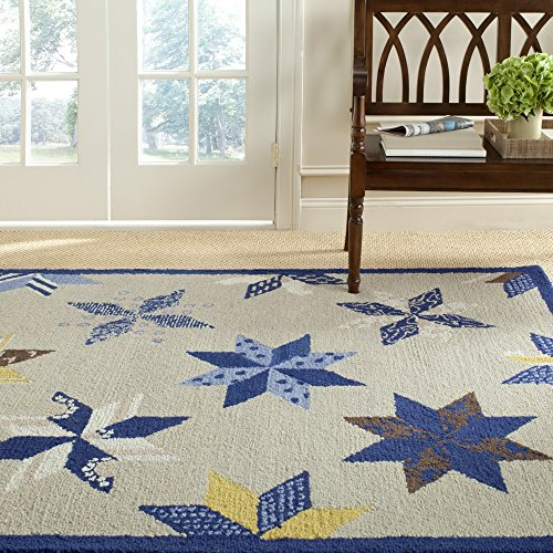 Martha Safavieh Wool Stewart (Safavieh Martha Stewart Collection MSR3751A Premium Wool Lemoyne Star Azurite Blue Area Rug (5' x 8'))