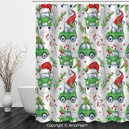 SCOCICI Cars,Shower Curtain Fabric with Hooks Bath Curtain Waterproof Gifts for Men and Women,Noel New Year Celebrations Christmas Composition with Green Cars Santa Hats Decorative,Lime Green -