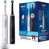 Oral-B Pro 3 3900 dubbelpack elektriska tandborstar/elektriska tandborstar med visuell 360° tryckkontroll för extra…