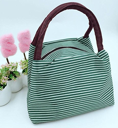 Honeysuck Portable Outdoor Stripe pattern picnic tela lunch bag – verde