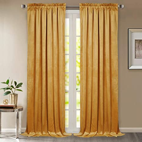 Amazoncom Gold Velvet Curtains 96 Inches Dual Rod Pocket Top