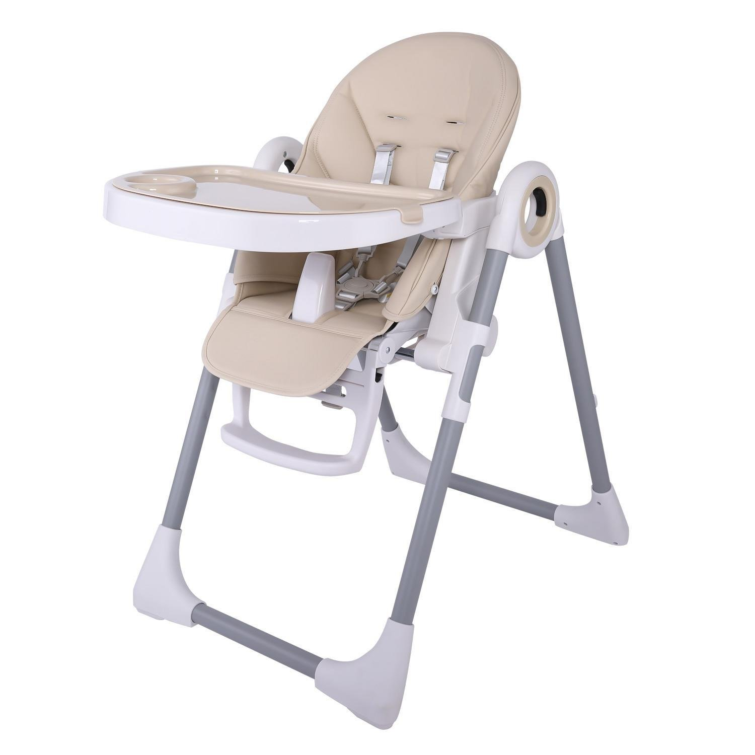 PEATAO Foldable High Chairs for Babies and Toddlers, Adjustable Booster Toddler Dining Table Chair (US STOCK) (Yellow)