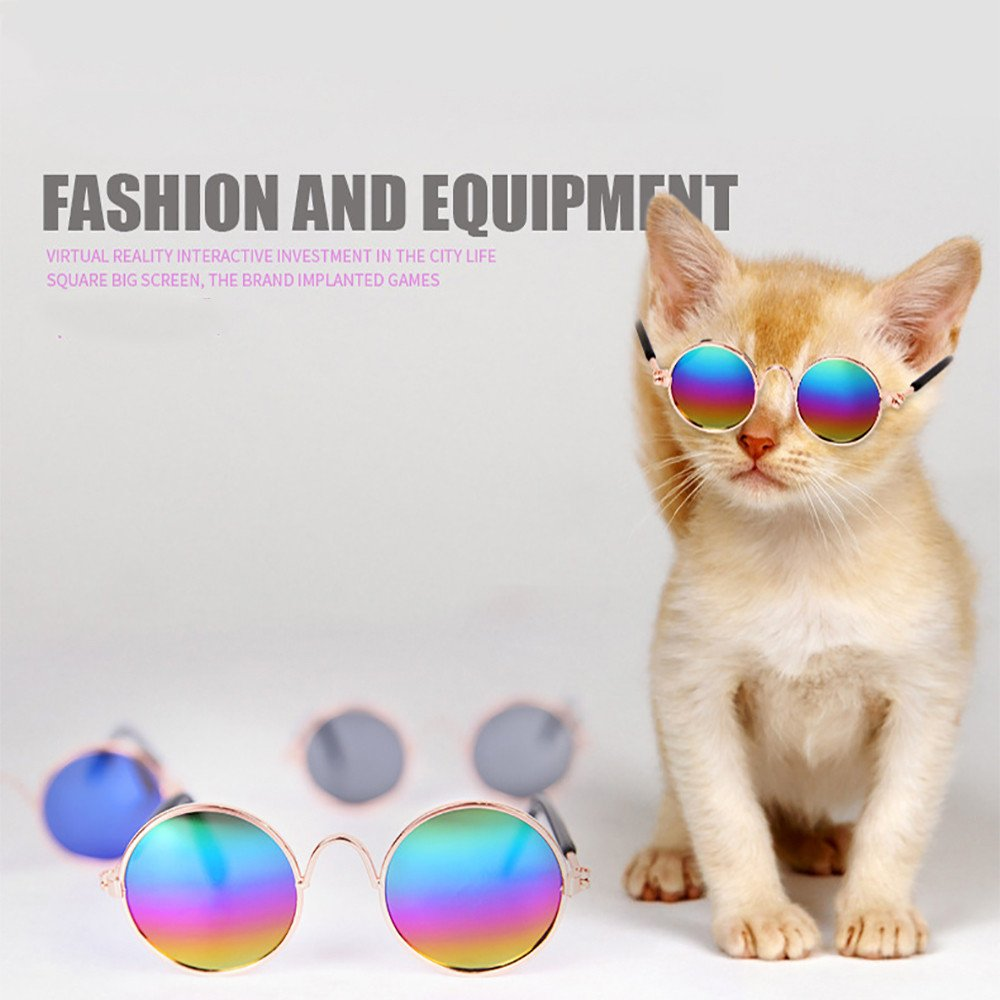 Dog Goggles Pet Cat Dog Sunglasses UV Sun Glasses Eye Protection Wear Small Dog Sunglasses for Doggy Puppy Cat Chihuahua or Small Dogs Classic Retro Circular Metal Prince Sunglasses Black