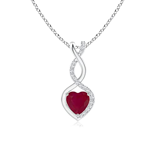 d5ac2cad3 Ruby Infinity Heart Pendant with Diamonds in Platinum (5mm Ruby):  Amazon.ca: Jewelry