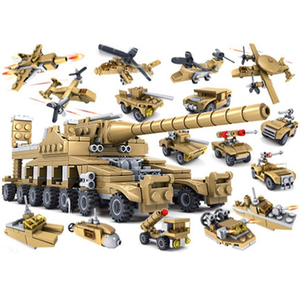 worlder New Kids Children Puzzle Assembled Building Blocks Cannon Tank 16 in 1 Toy Set Stacking Blocks