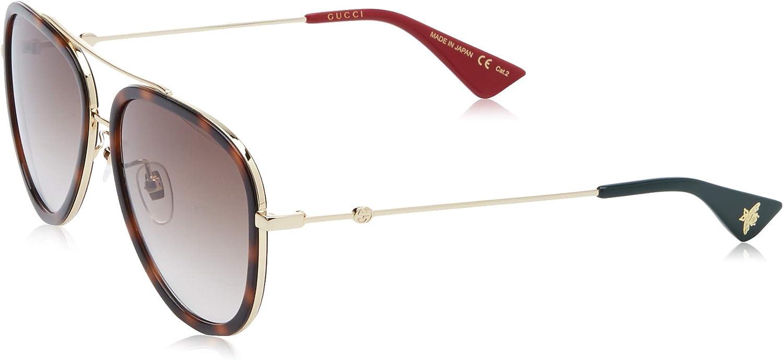 Gucci GG0062S-012 Gafas de sol, Dorado/Havana/Brillo, 57 para Mujer