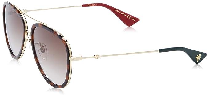 Gucci GG0062S-012 Gafas de sol, Dorado/Havana/Brillo, 57 ...