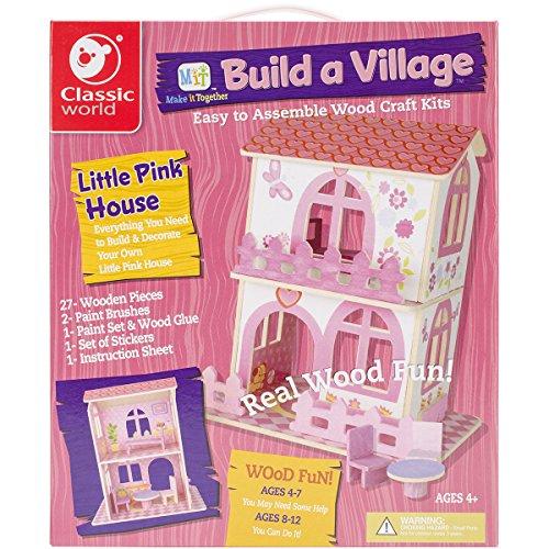 Classic Build A Village Pink House Building Kit (Village Kit)