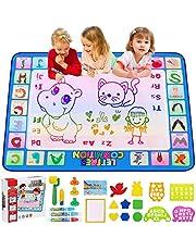 CGBOOM WasserDoodle Matte Aqua Magic Doodle mata malarska 100 x 80 cm XL Aqua Drawing Painting Matte, mata malarska z narzędziami wodnymi Stempe akcesoria dla Toddler 1,2,3,4,5,6 lat