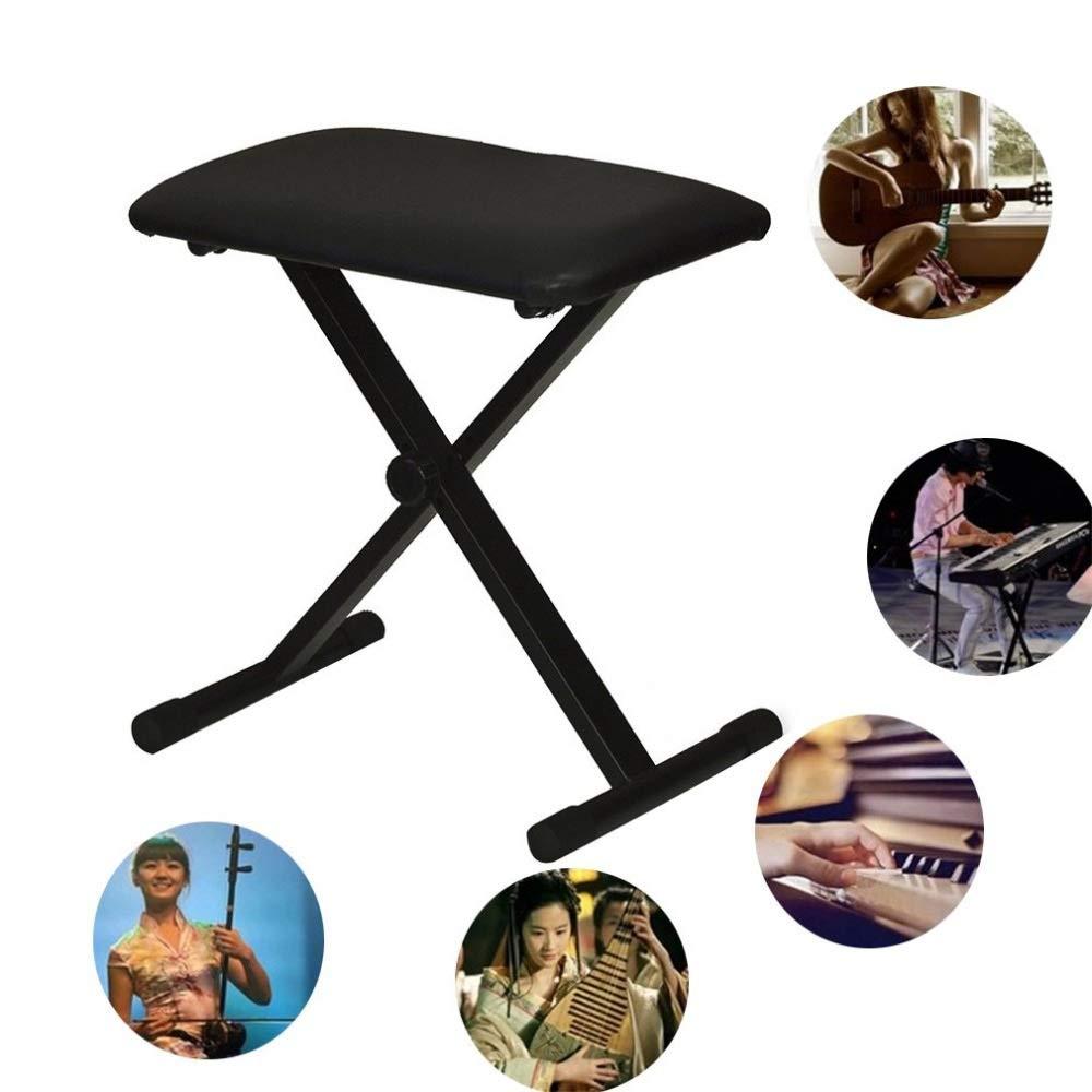 Shelfhx Seggiolino per Pianoforte in Pelle Nera Pieghevole Regolabile Sedile per Tastiera in Pianoforte Leggero Sgabello per Studio Portatile Multifunzionale