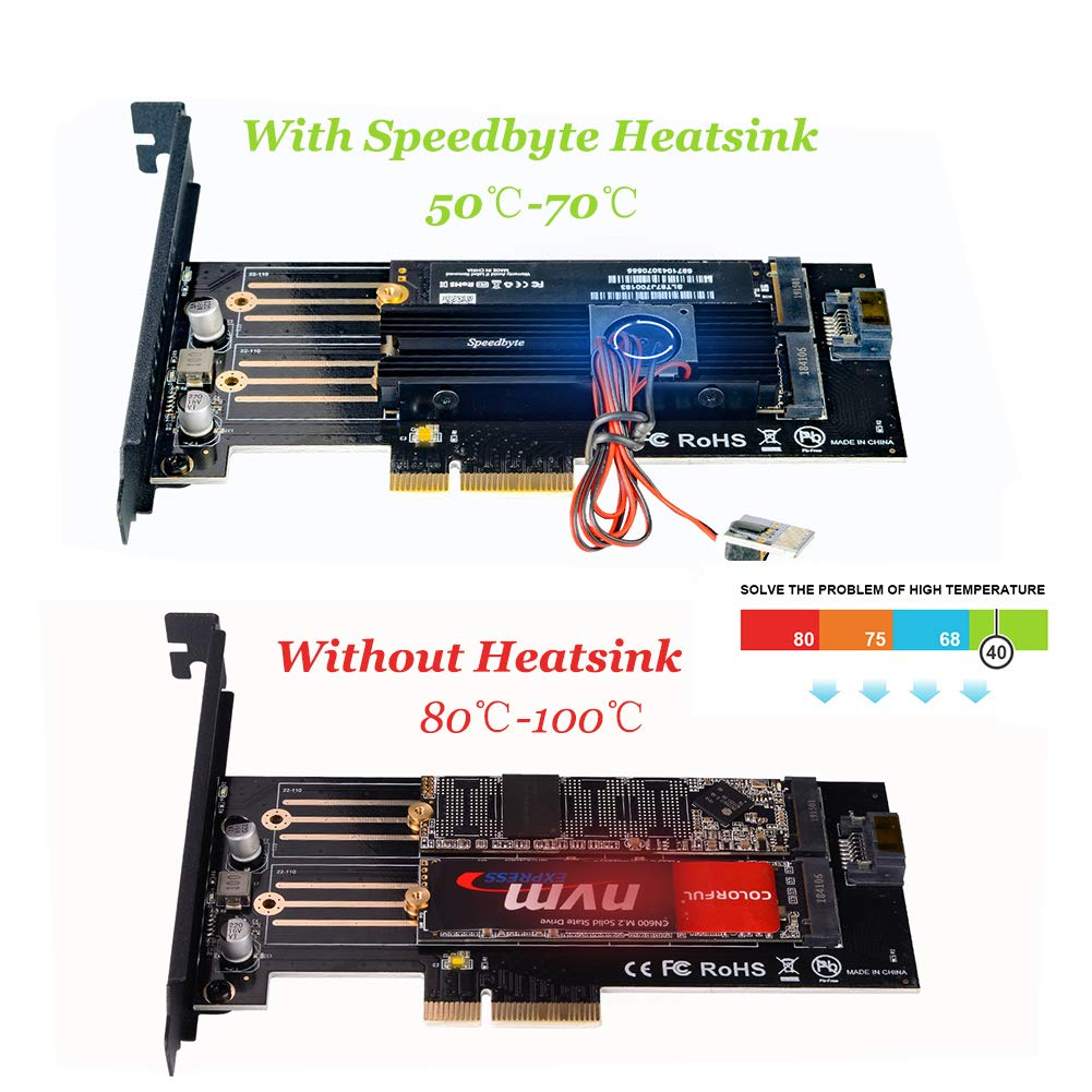 Dual M.2 PCIe Adapter, M.2 NVME SSD (M Key) or M.2 SATA SSD (B Key) 22110 2280 2260 2242 2230 to PCI-e 3.0 x4 Host Controller Expansion Card with SSD Fan Cooler Heatsink for PC Desktop,Black
