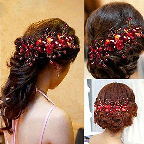 LOHOME Ladies Pretty Red Rhinestone Handmade Headdress Bridal Wedding Flower Pearls Headband