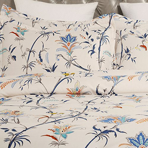 Vaulia Lightweight Microfiber Duvet Cover Set, Floral Pattern Design, Cream - Queen Size