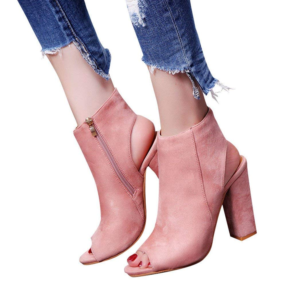 Minetom Women's Zip up Cutout Chunky Stacked Heels Ankle Booties Fisherman Sandals Pink 10 B (M) US