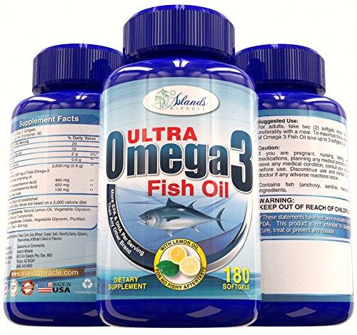 Huile de poisson Omega 3 (plus haute puissance) 2,600mg - 860 mg d'EPA et de DHA 650mg 180 comte W Lemon Oil Pour aucun poisson Burps - les meilleurs suppléments de qualité pharmaceutique triglycérides avec des acides gras essentiels plus enrobage entériq