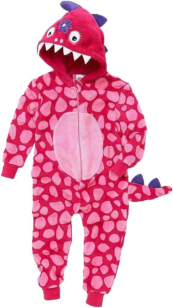 Kids Sleepsuit Dinosaur Onesie Pajamas Boys Girls Animal Outfit Pink 95
