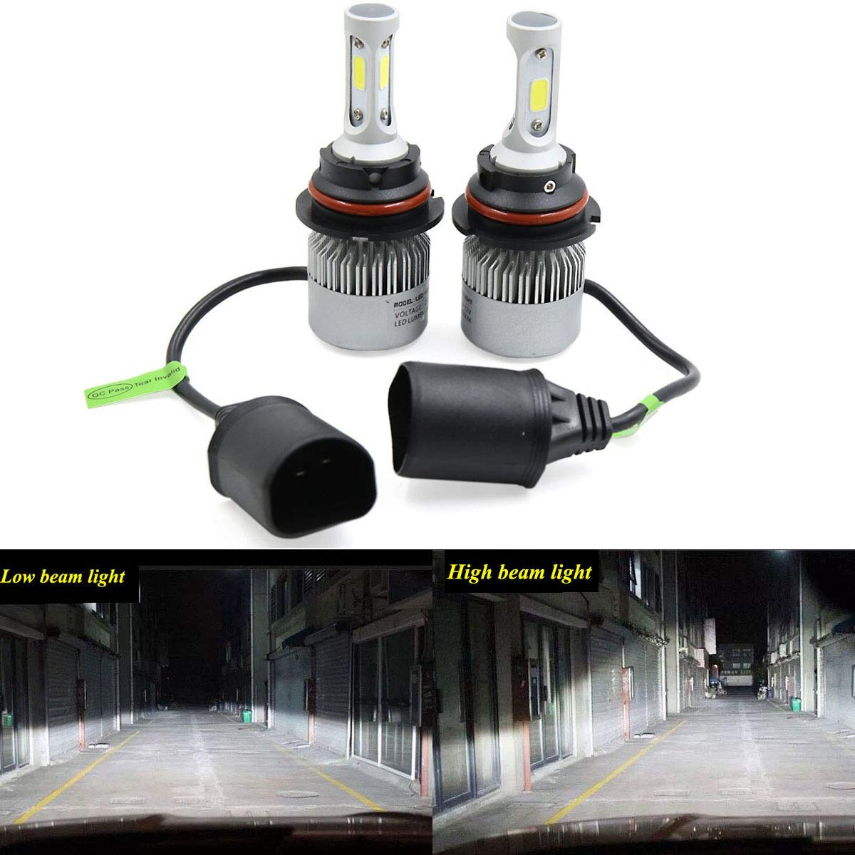 2PCS LED Headlight Low Beam Light High Beam Light Fog Light All-in-One Conversion Kit 9007 Base 72W 6500K 8000Lm Xenon White COB Chip Universal Fit Dodge Ford Plymouth Mercury Nissan Subura