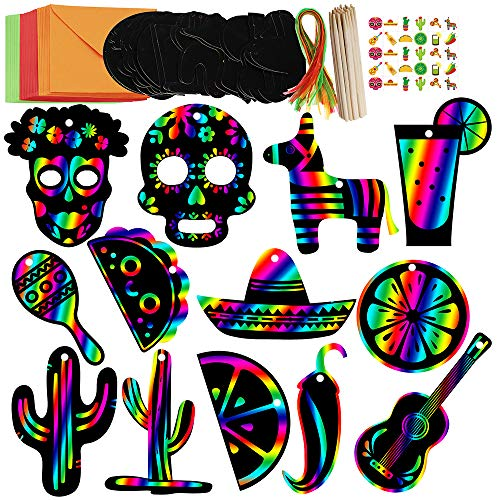 Supla 26 Set Magic Scratch Art Rainbow Scratch Paper Ornaments Mexican Fiesta Ornaments Hang Tags Favor Tags Treats Tags Gift Tags with Organza Ribbons and Scratching Tool for Kids Cinco De Mayo Party -