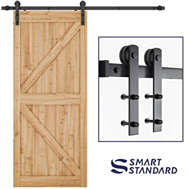 SMARTSTANDARD 6.6ft Heavy Duty Sturdy Sliding Barn Door Hardware Kit -Smoothly and Quietly -Easy to install -Includes Step-By-Step Installation Instruction Fit 36 -40  Wide Door Panel (I Shape Hanger)