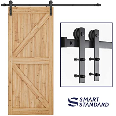 "SMARTSTANDARD 6.6ft Heavy Duty Sturdy Sliding Barn Door Hardware Kit -Smoothly and Quietly -Easy to install -Includes Step-By-Step Installation Instruction Fit 36""-40"" Wide Door Panel"