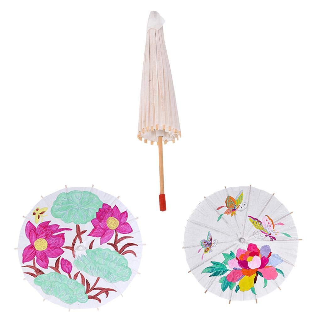 Xiangfeng 1 PCS Blank Paper Umbrella Japanese Chinese Umbrella Parasol Kids DIY Umbrella Projects,Dia 20cm