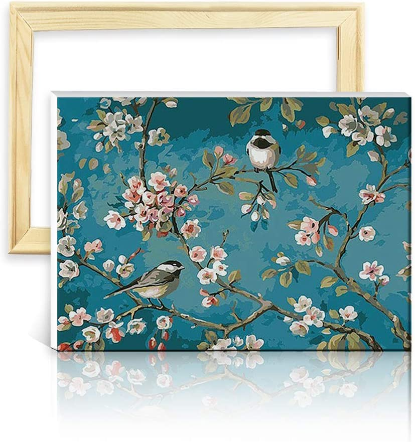 ufengke Apricot Flower 5D Diamond Painting Kits by Numbers Full Drill Diamond Embroidery Cross Stitch, with Wooden Frame, 25 35cm Design