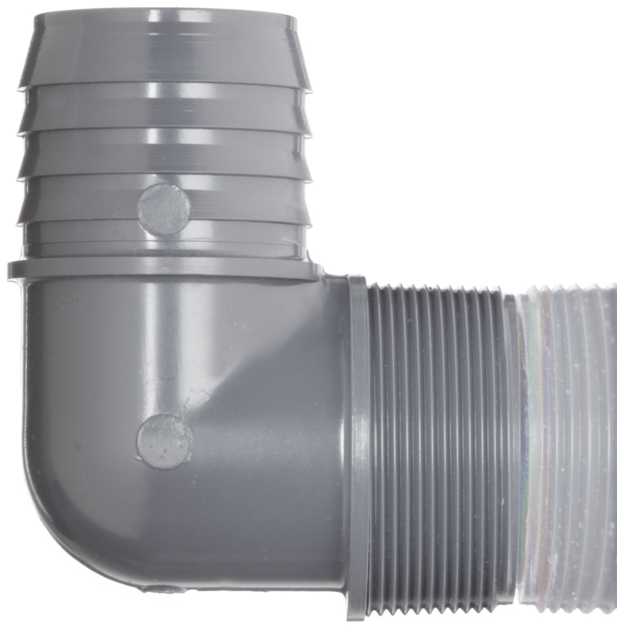 1//2 Barbed x NPT Male Spears 1413 Series PVC Tube Fitting 90 Degree Elbow Schedule 40 Gray