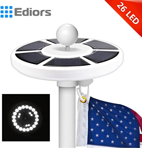Solar Flagpole Light 26 LED Downlight for Most 15 to 25 Ft Flag Pole