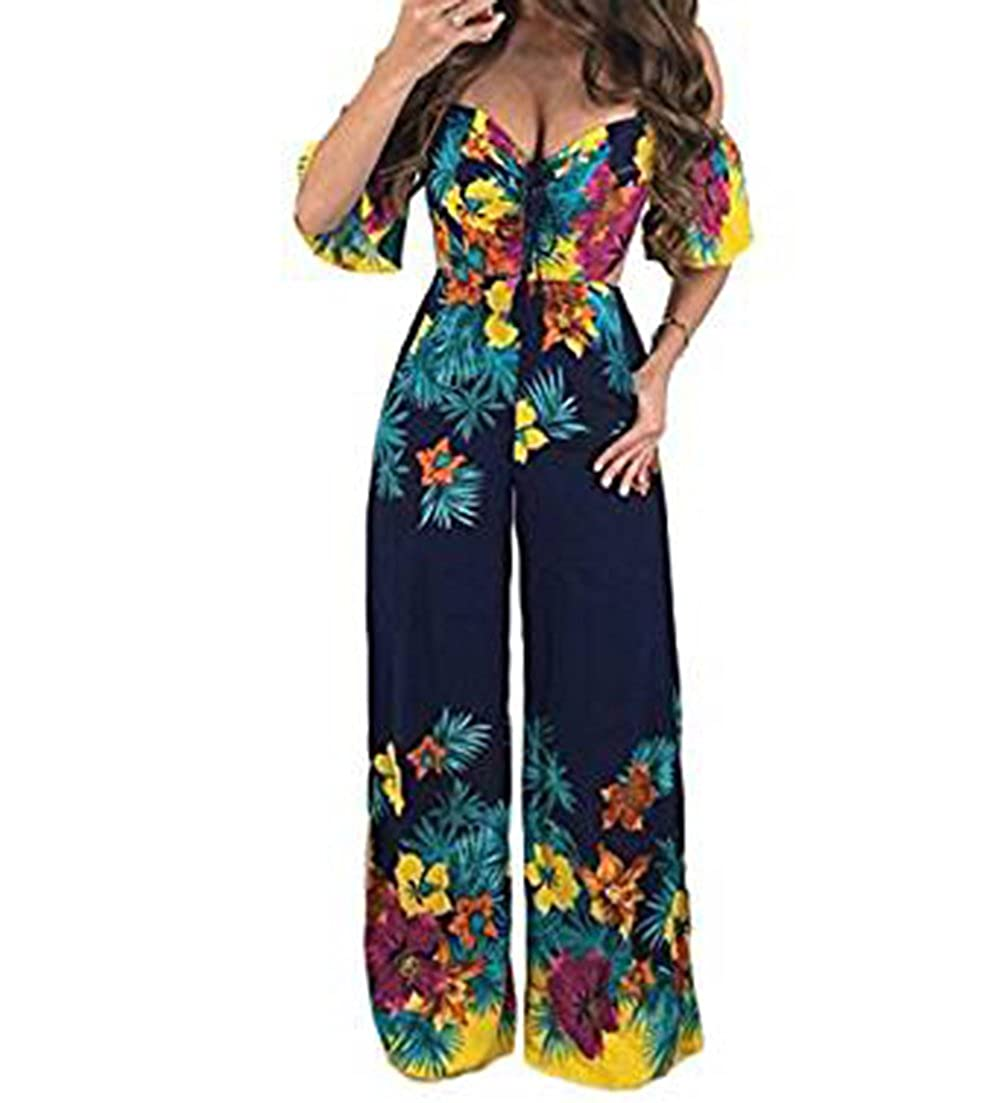 1f5fb4d5f81 Top3  Women s Sexy Off Shoulder Low Cut Summer Beach Floral Printed Short  Sleeve Elastic Waist Jumpsuit Long Pants