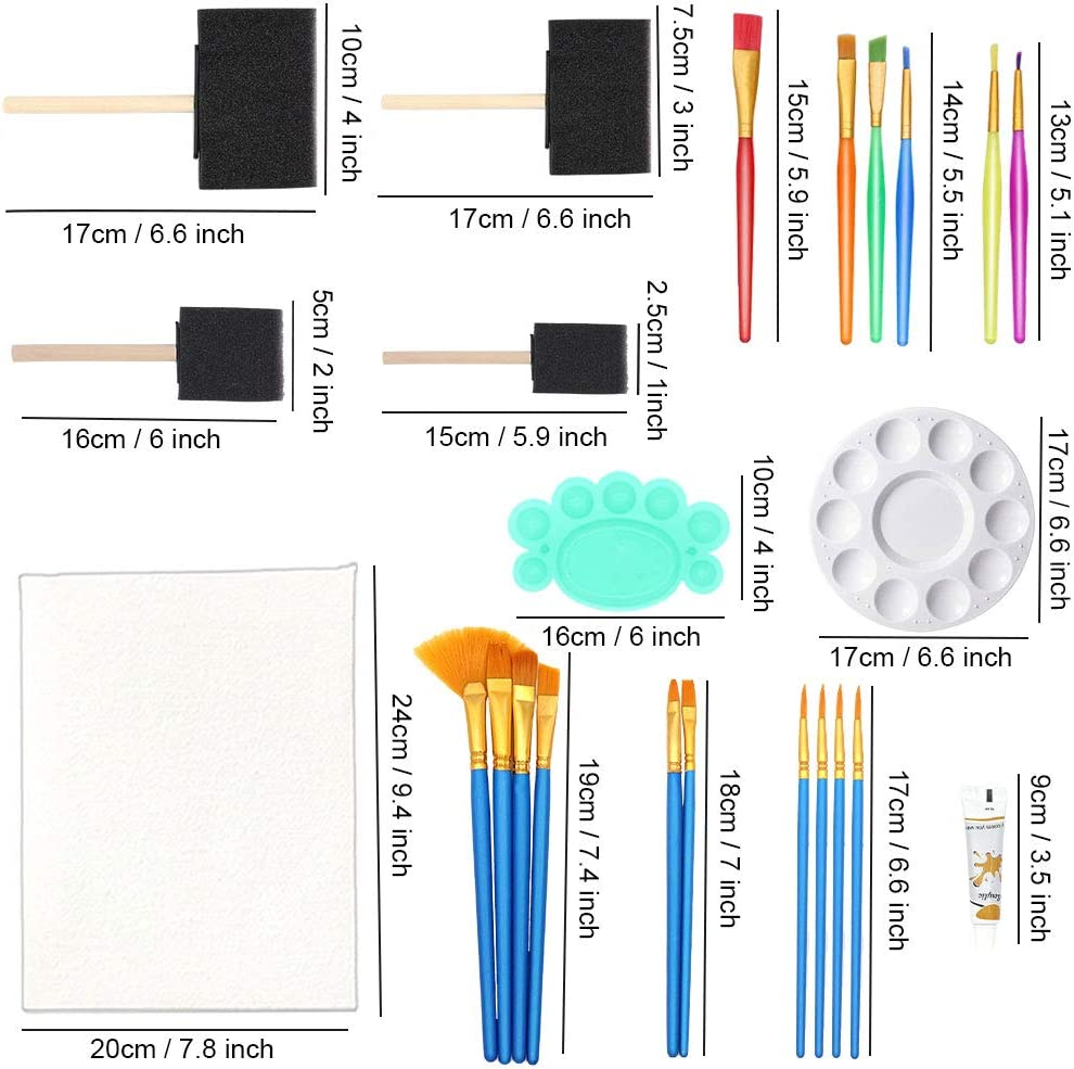 Painting Kits For Kids, Angela&Alex Easel Art Set 45 Pcs Acrylic Paint Set For Kids Paint, Tabletop Easel, Paint Brushes Canvas, Painting Pad, Color Mixing Chart Art Supplies Gift Box Christmas Age 4+