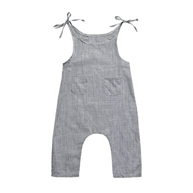 d8e6780908ee Lisin Toddler Infant Baby Boys Girls Jumpsuit Flax Sleeveless Braces Romper  Jumpsuit (Size 12Months