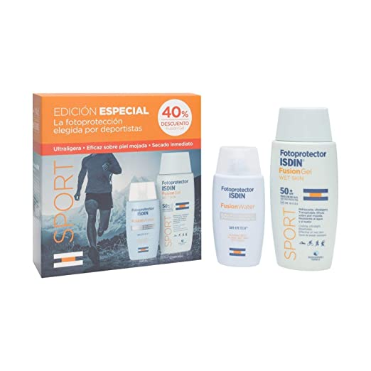 Amazon.com: 2Pack Fotoprotector ISDIN Pack Sport fusion gel SPF50+100ml + fusion water SPF50+50ml- Sunscreen- Sun Protection -Care your skin- Men-Woman- ...