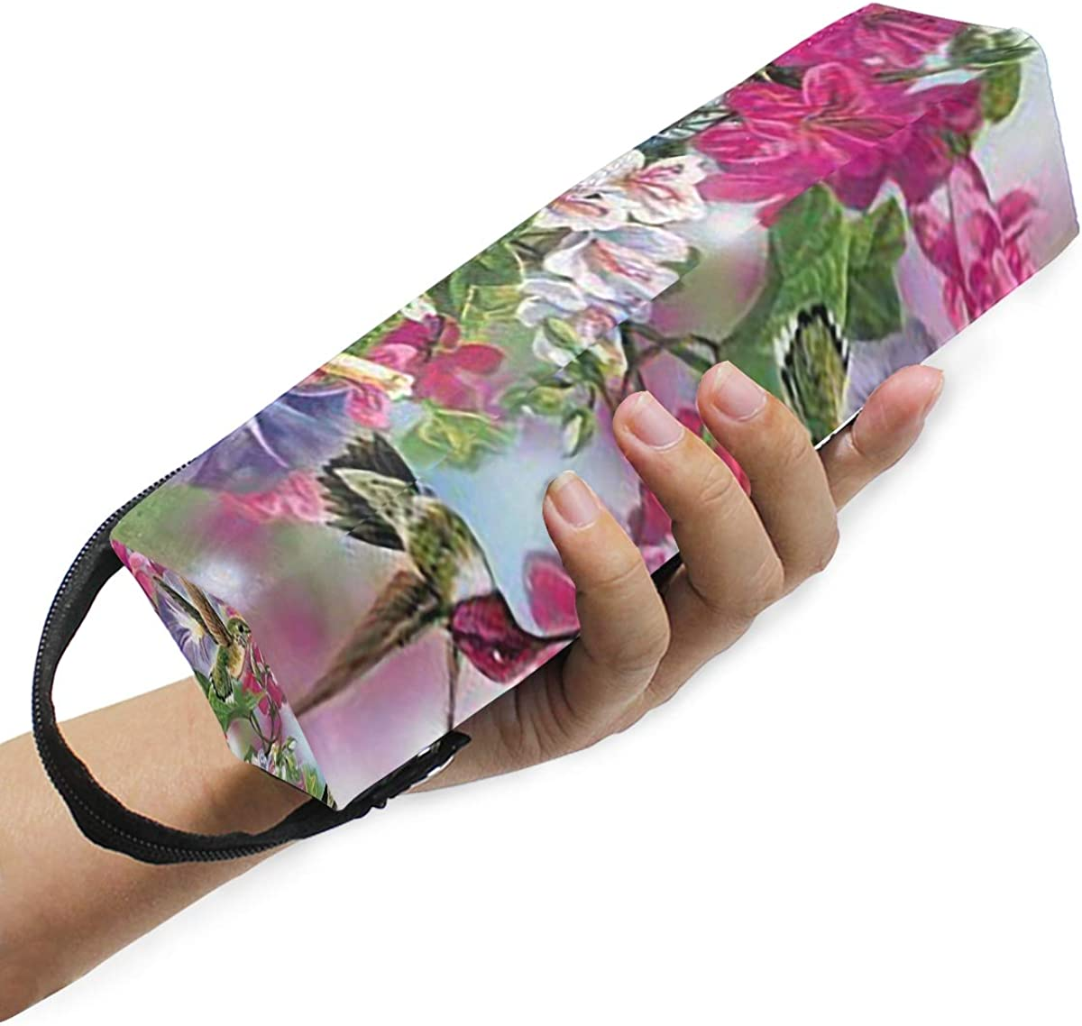 Glasses Case Dark Purple Flower Zipper Soft Sunglasses Ball Pen Bag Protective Purse