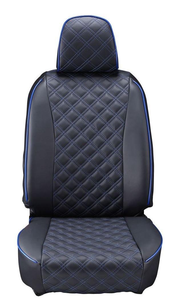 クラッツィオ シートカバー リーフ Clazzio キルティング ブラック×ブルーステッチ EN-5301 B00JZCYFAU  ブラックレザー×ブルーステッチ