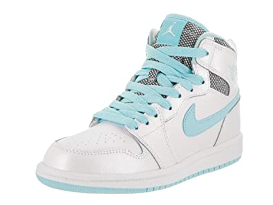 more photos bf706 58cd5 Image Unavailable. Image not available for. Color  Jordan Nike Kids 1 Retro  High GP White White Still Blue White Basketball