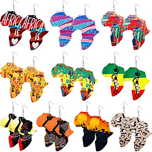 10 Pairs Wooden Earrings African Map Jewelry Ethnic Style Earring Bohemian Drop Earrings (African Pattern and Word Style)