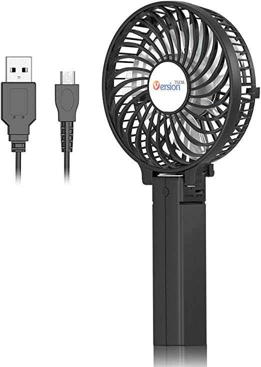 USB Table Desk Personal Fan Mini Handheld Fan Portable USB Fan Small Table Desk Personal Rechargeable Battery Operated 2 Speed Stand Charging Base For Office Desktop Home Cooling Outdoor Travelling Ca