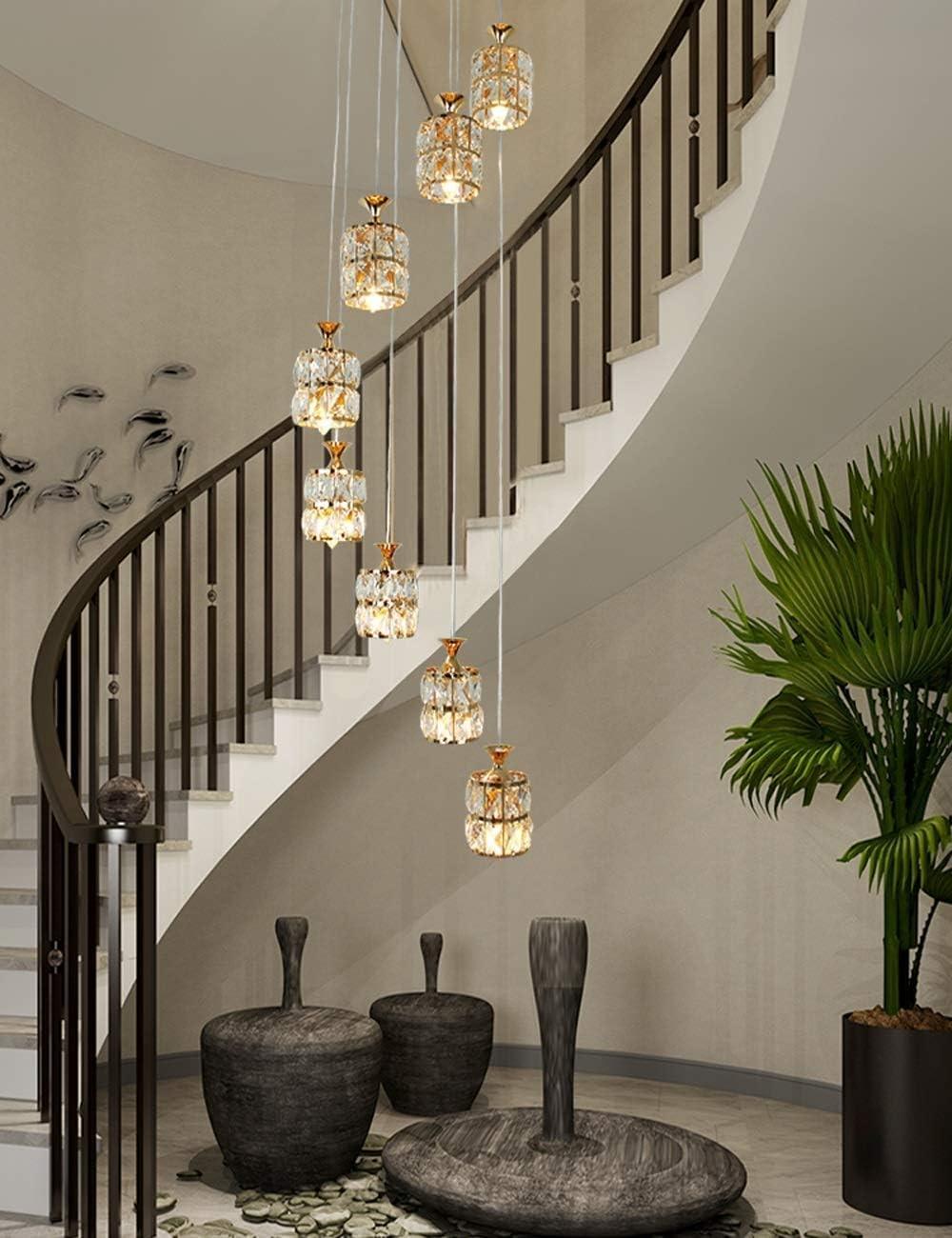 Lámparas de araña Escaleras Escalera de caracol Lámpara de araña Lámpara colgante larga Moderna Minimalista Duplex Villa Casa Piso Gran sala de estar Luz de techo de cristal A+: Amazon.es: Hogar