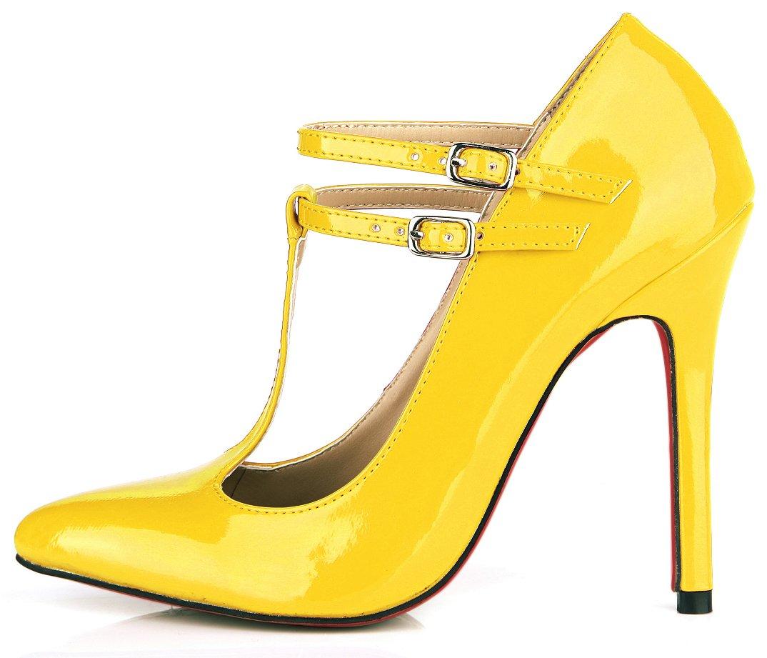 Jaune Pearl Chaussures femmes le tempérament et le printemps nouveau rouge, noir cuir vernis des boîtes de chaussures les chaussures de talon haut US8   EU39   UK6   CN39