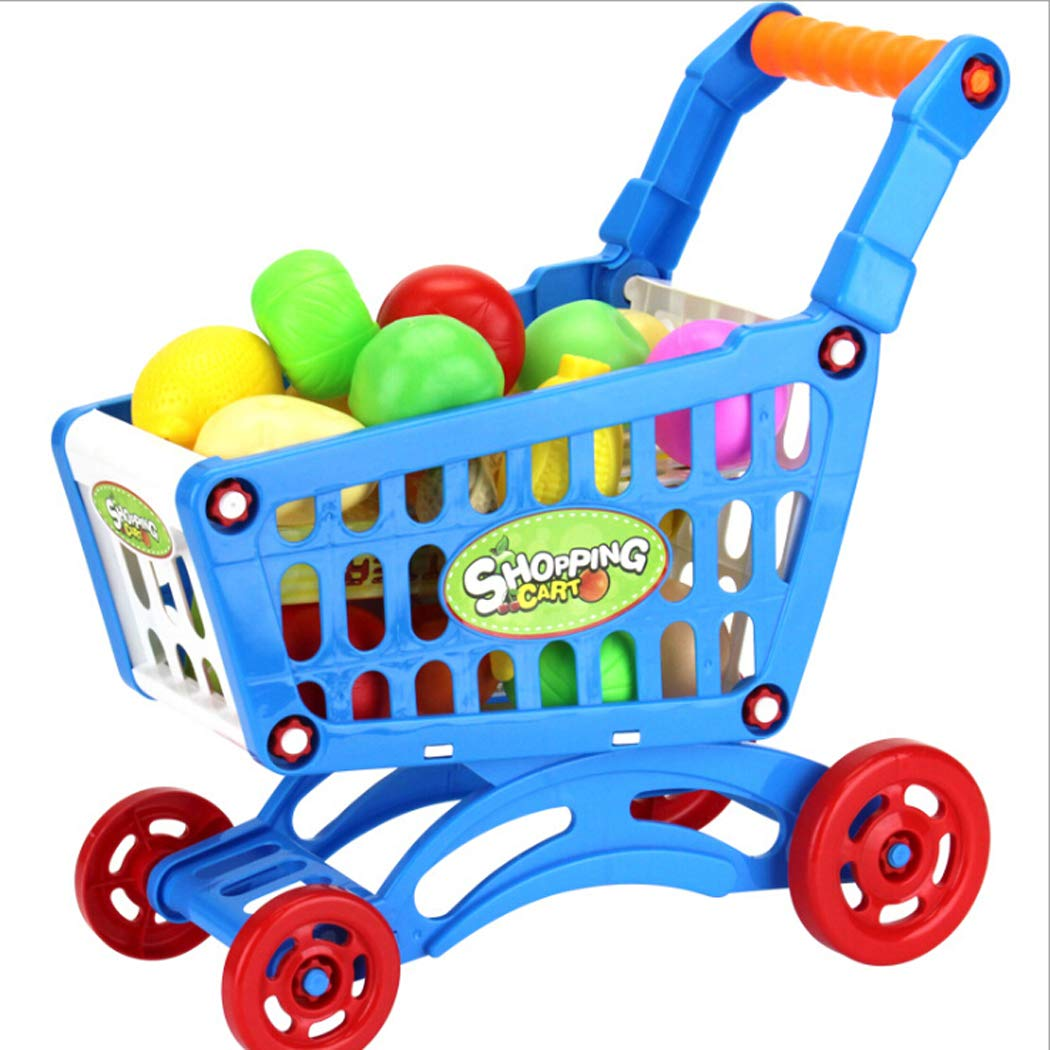 ThinIce DIY Mini Shopping Cart Toy for Toy Groceries Pretend Play Food for Kids Children Girl Boy-Blue
