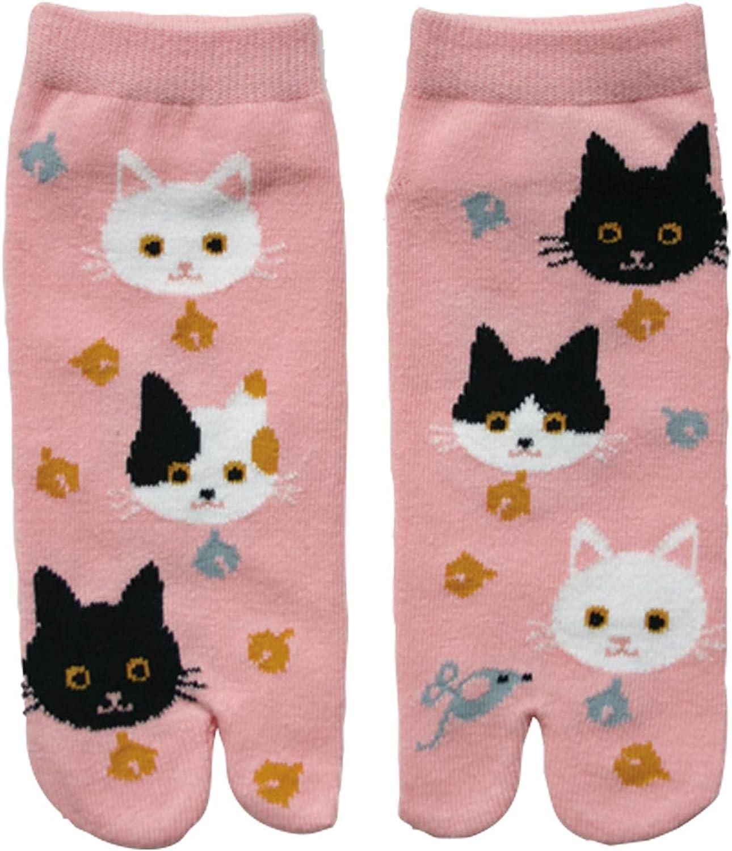 Japanese Tabi Socks Cat Black and White