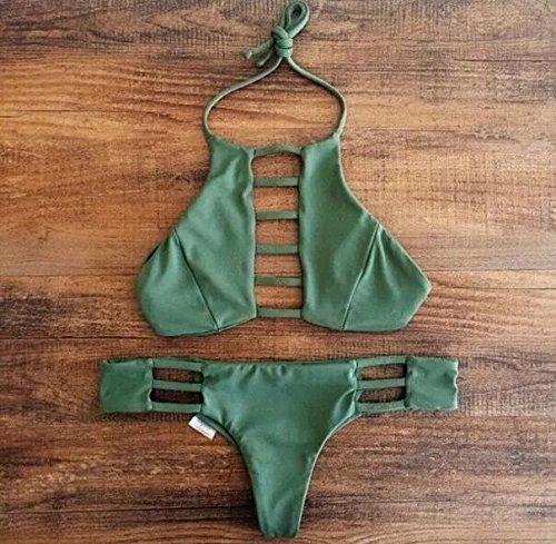 Vandot Women Brazilian Bikini Vintage Retro Swimwear Brasileño Bikini Set Design 2 Green