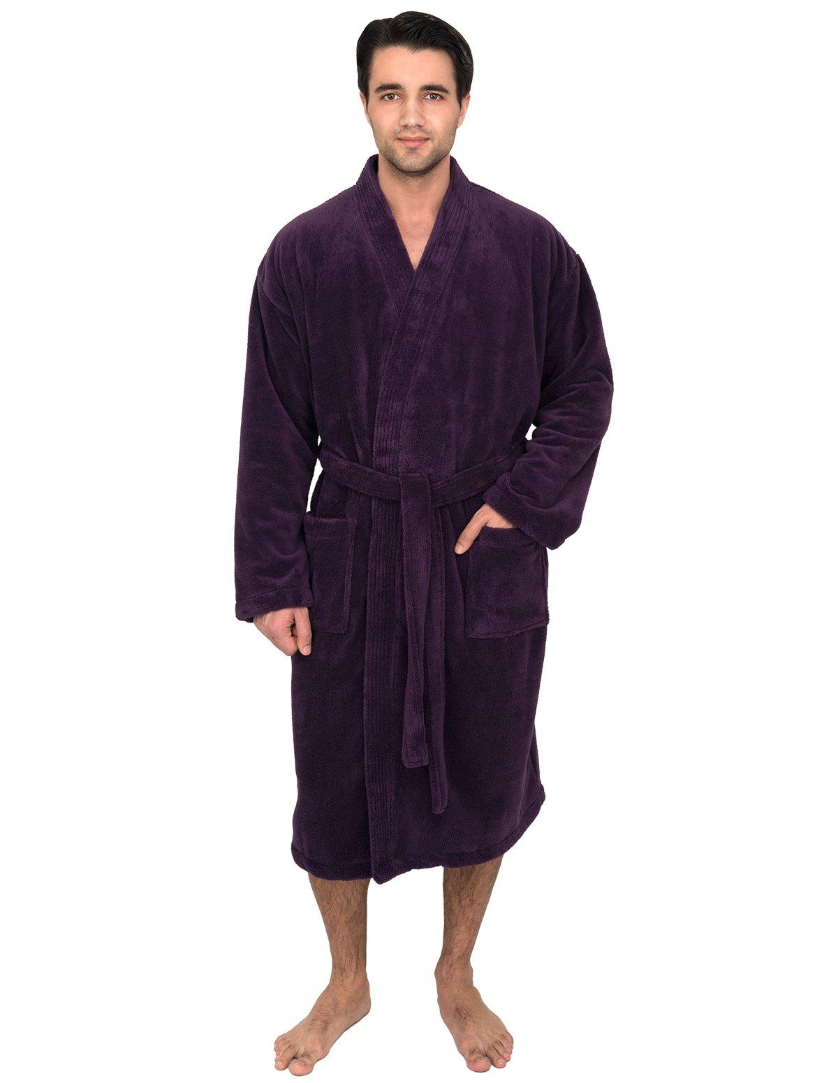 TowelSelections Super Soft Plush Kimono Bathrobe Fleece Spa Robe for Men Small/Medium Wine Berry
