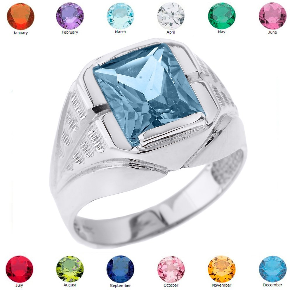 Men's 925 Sterling Silver Personalized CZ Birthstone Statement Ring, Size 11.25